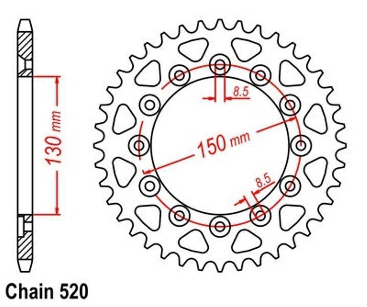 Rear sprock KR Kettenrad 42 Z Teilung 520 YAMAHA WR 400 F 98/' NEU ..